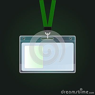 Plastic ID Badge. Identification card icon.