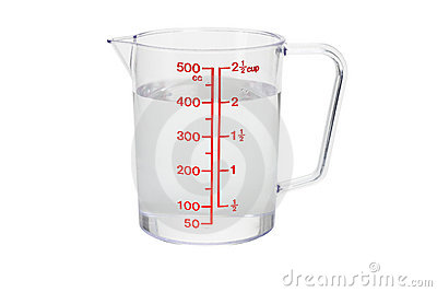 Plastic Kitchen Measuring Cup Filled With Water Stock