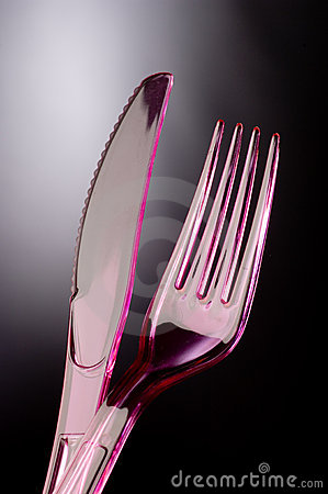 Plastic knife and fork