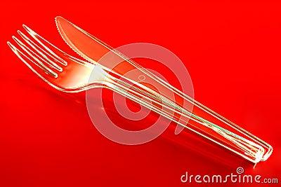 Plastic kniv och gaffel