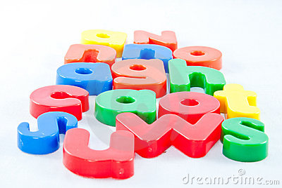 Plastic letters on white background
