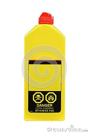 Plastic lighter fluid bottle