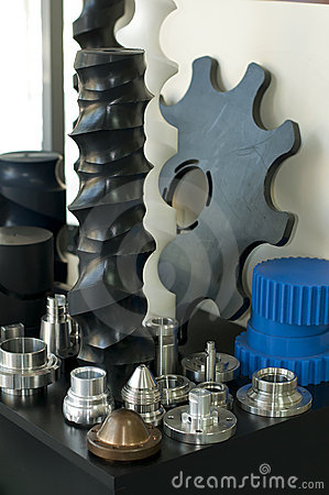 Plastic and metal machine parts.