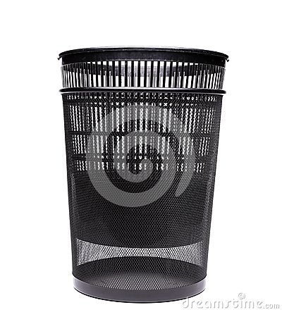 Plastic into metal trash cans on white background
