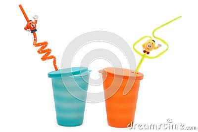 Plastic orange and blue glasses