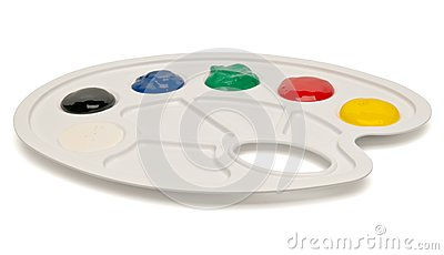 Plastic palette with paints