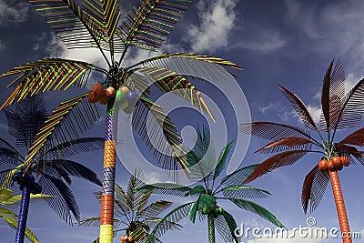 Plastic Palm Trees against Blue Sky