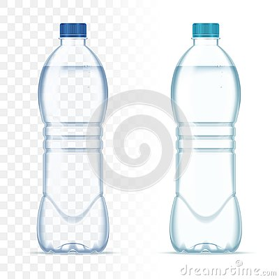 Free Plastic Realistic Vector Bottles With Water And Blue Cap On Transparent Background. Realistic Bottle Mockup. Stock Photo - 104927350