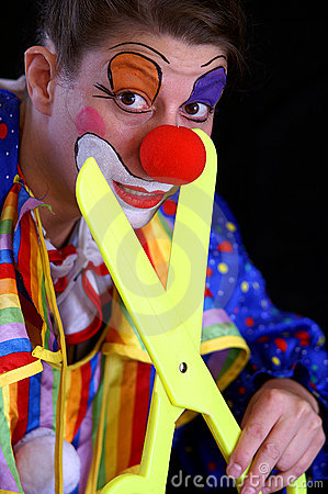 Plastic scissors and clown