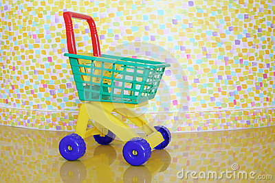 Plastic shopping trolley and stylish wall
