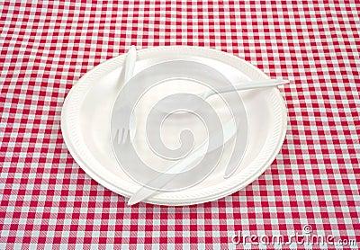 Plastic silverware on plate
