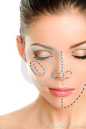 Free Plastic Surgery Lines On Asian Woman Face Royalty Free Stock Image - 51170006