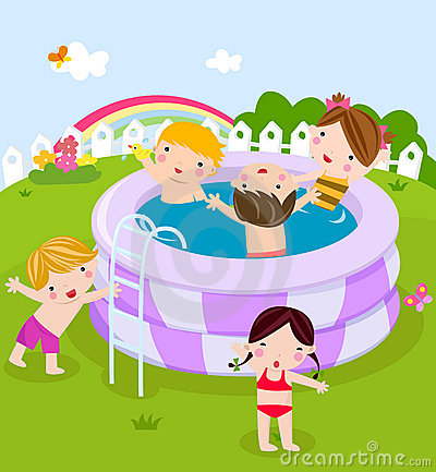 Plastic Swimming Pool With Kids Royalty Free Stock Photography Image