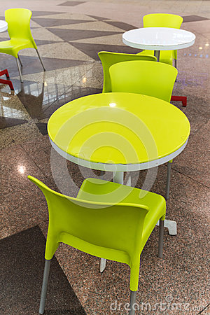 Free Plastic Tables And Chairs In Cafe Stock Images - 37741314
