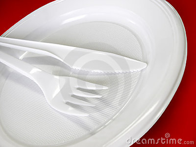 Plastic tableware - knife, fork and plate