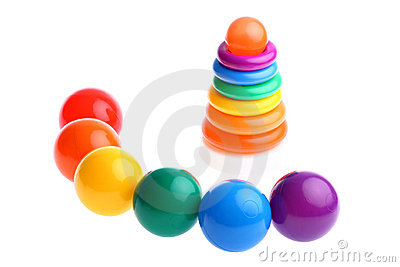 Plastic toy balls with stacking rings toy