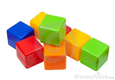 Plastic toy blocks on white