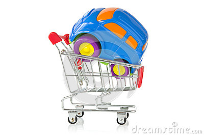 Plastic toy car in a shopping cart