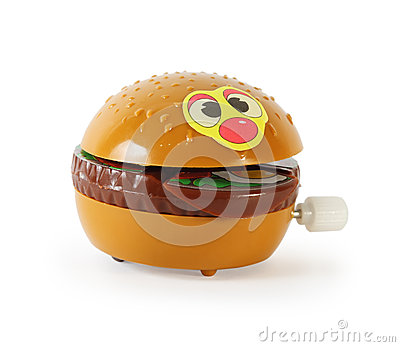Plastic toy mechanical hamburger isolated