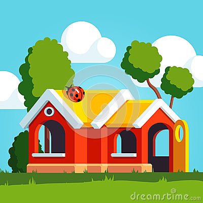 Free Plastic Toy Play House Standing On The Playground Royalty Free Stock Photo - 97947815