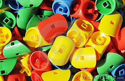 The plastic toys of bright colors