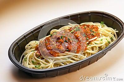 Plastic tray of Spaghetti