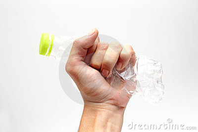 Plastic water bottles recycle in hand