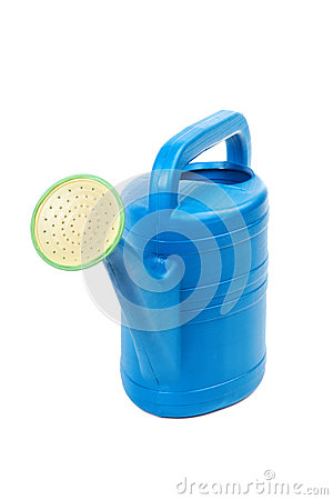 Plastic watering can isolated on a white background