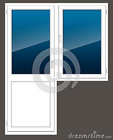 Plastic window with a door