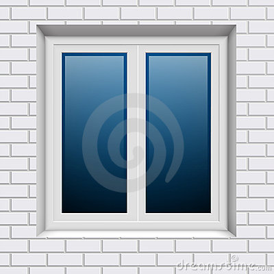 Plastic window in white brick wall from outside
