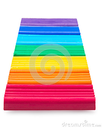 Free Plasticine Laid Respectively Rainbow Colors Royalty Free Stock Photo - 64041735