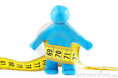 Plasticine man with measuring tape