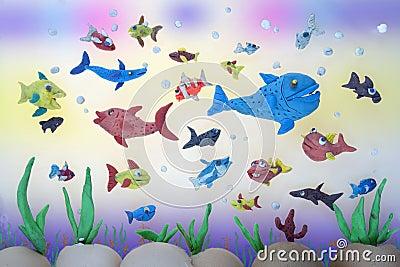 Plasticine marine life