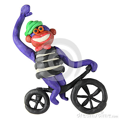 Free Plasticine Monkey On The Bicycle Royalty Free Stock Photos - 27999998