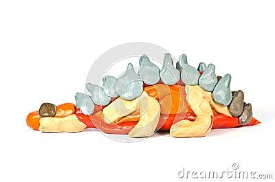 Plasticine sculpture of a dinosaur