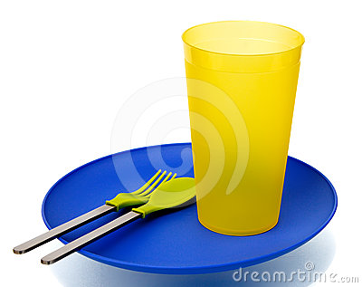 Plastic plate, cup, spoon and fork