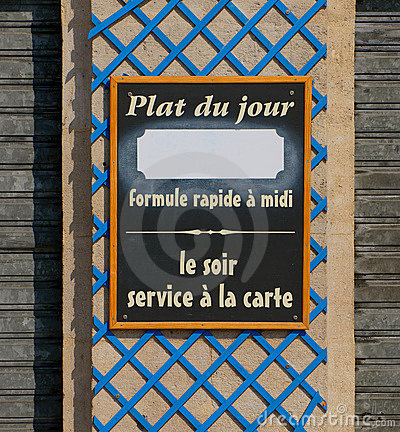 Plat du jour restaurant sign