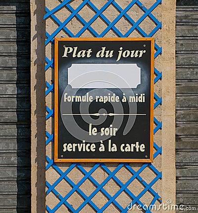 Plat du jour restaurant sign