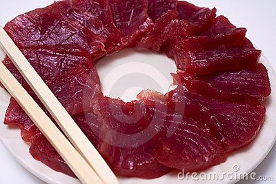 A plate of ahi yellow fin tuna sashimi