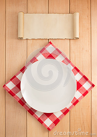 Free Plate And Napkin On Wood Stock Photos - 59120583
