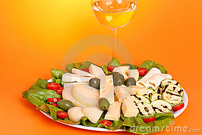 Plate With Assorted Cheese