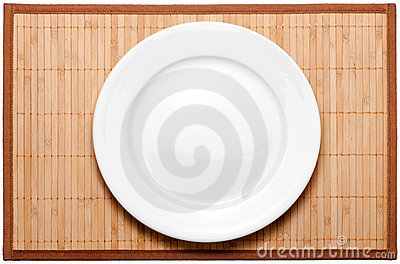 Plate on bamboo mat