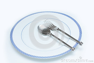 Plate with blue rim