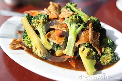 Plate of broccoli with vegan seitan