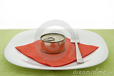 Plate with can