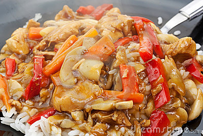 A plate of chinese food
