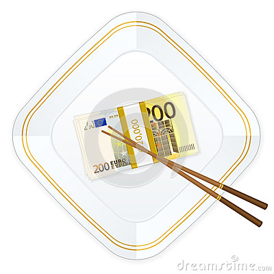 Plate chopsticks and two hundred euro pack