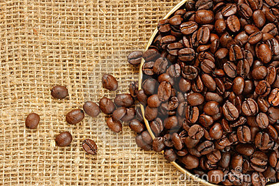 Plate of coffee beans