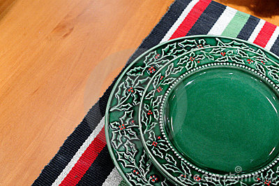 Plate and colorful table cloth