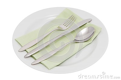 Plate with cutlery and serviette